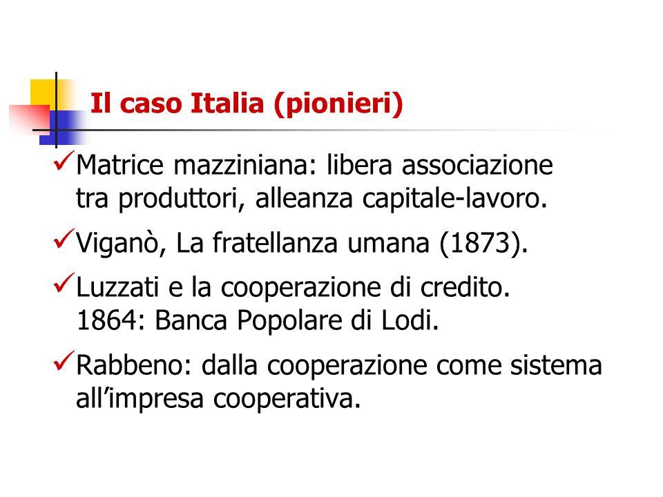 Il caso Italia (pionieri) Matrice mazziniana: libera associazione tra produttori, alleanza capitale-lavoro. Viganò, La fratellanza umana (1873). Luzza