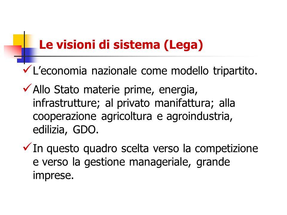 Le visioni di sistema (Lega) Leconomia nazionale come modello tripartito. Allo Stato materie prime, energia, infrastrutture; al privato manifattura; a
