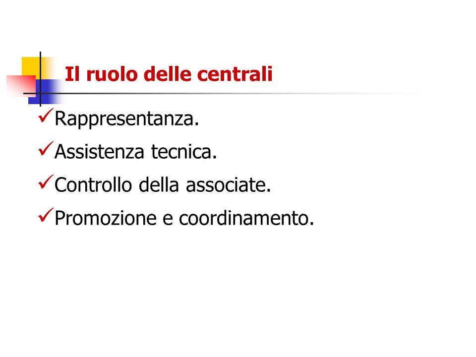 Il ruolo delle centrali Rappresentanza. Assistenza tecnica. Controllo della associate. Promozione e coordinamento.