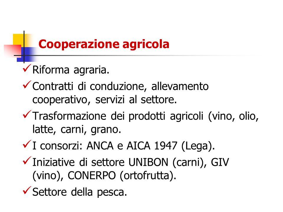Cooperazione agricola Riforma agraria. Contratti di conduzione, allevamento cooperativo, servizi al settore. Trasformazione dei prodotti agricoli (vin
