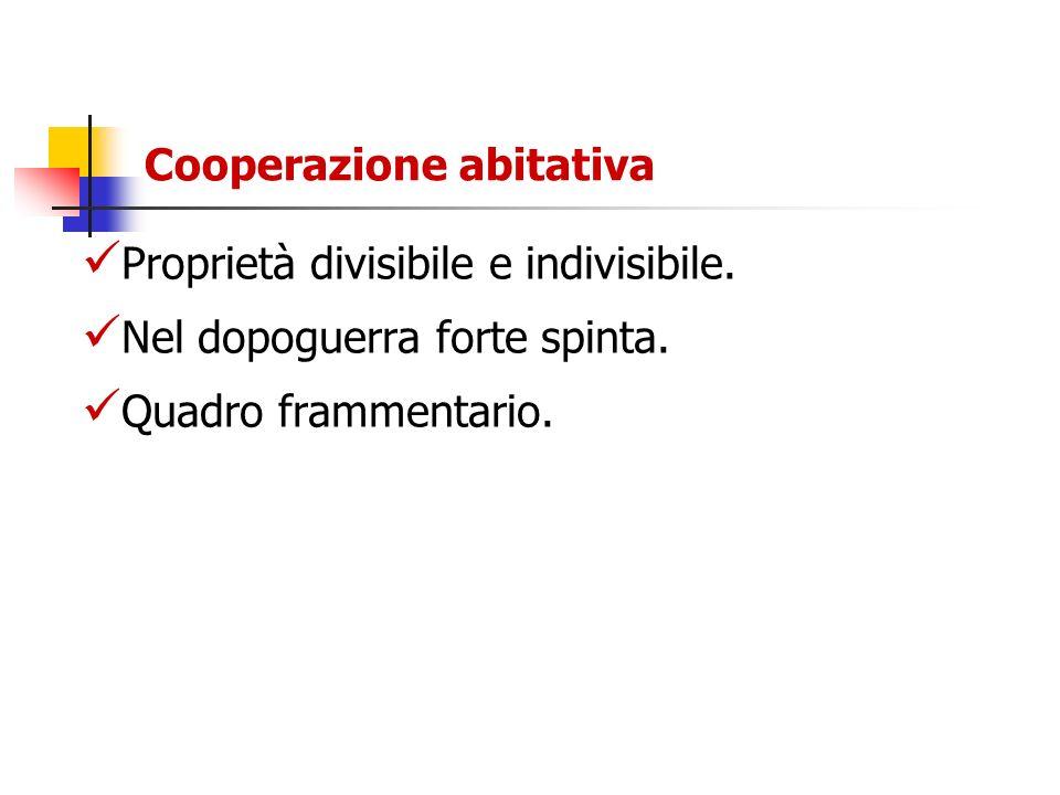 Cooperazione abitativa Proprietà divisibile e indivisibile. Nel dopoguerra forte spinta. Quadro frammentario.
