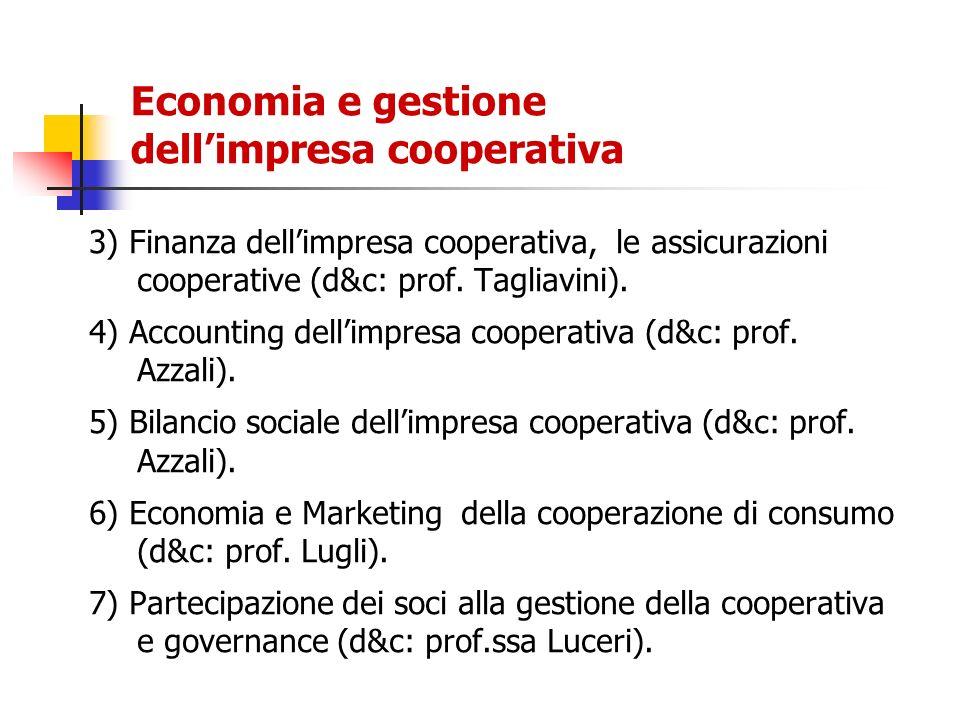 Economia e gestione dellimpresa cooperativa 3) Finanza dellimpresa cooperativa, le assicurazioni cooperative (d&c: prof. Tagliavini). 4) Accounting de