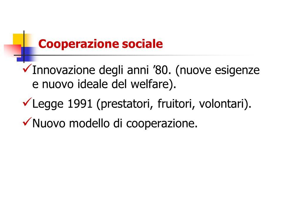 Cooperazione sociale Innovazione degli anni 80. (nuove esigenze e nuovo ideale del welfare). Legge 1991 (prestatori, fruitori, volontari). Nuovo model