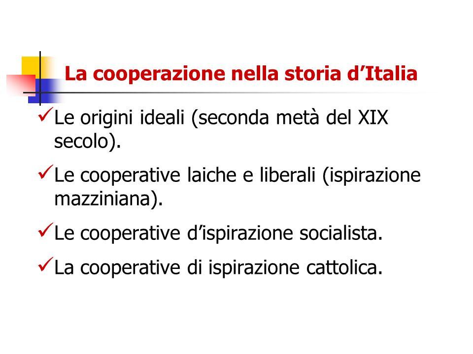 La cooperazione nella storia dItalia Le origini ideali (seconda metà del XIX secolo). Le cooperative laiche e liberali (ispirazione mazziniana). Le co