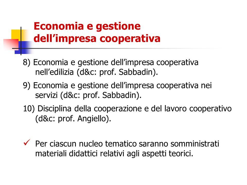 Economia e gestione dellimpresa cooperativa 8) Economia e gestione dellimpresa cooperativa nelledilizia (d&c: prof. Sabbadin). 9) Economia e gestione