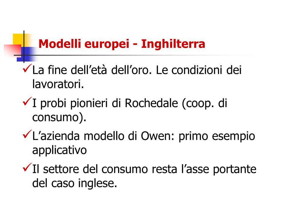 Modelli europei - Inghilterra La fine delletà delloro. Le condizioni dei lavoratori. I probi pionieri di Rochedale (coop. di consumo). Lazienda modell