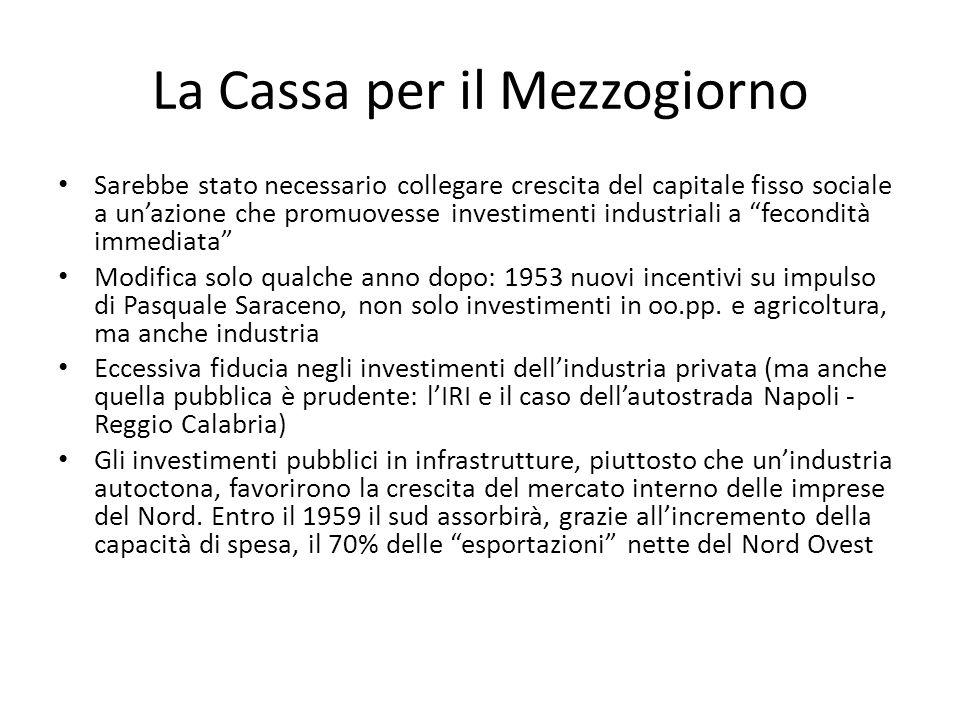 La Cassa per il Mezzogiorno Sarebbe stato necessario collegare crescita del capitale fisso sociale a unazione che promuovesse investimenti industriali