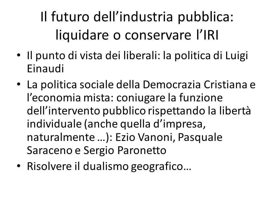 Il futuro dellindustria pubblica: liquidare o conservare lIRI Il punto di vista dei liberali: la politica di Luigi Einaudi La politica sociale della D