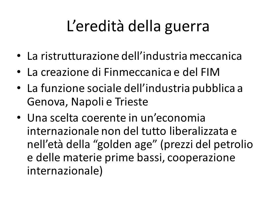 Leredità della guerra La ristrutturazione dellindustria meccanica La creazione di Finmeccanica e del FIM La funzione sociale dellindustria pubblica a