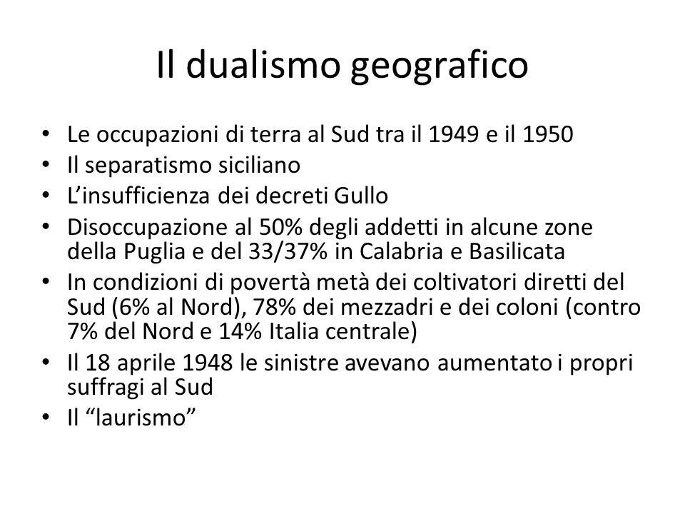 Il dualismo geografico Le occupazioni di terra al Sud tra il 1949 e il 1950 Il separatismo siciliano Linsufficienza dei decreti Gullo Disoccupazione a
