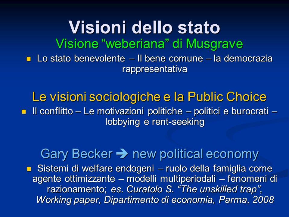 Visioni dello stato Visione weberiana di Musgrave Lo stato benevolente – Il bene comune – la democrazia rappresentativa Lo stato benevolente – Il bene