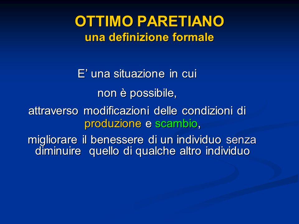 OTTIMO PARETIANO una definizione formale E una situazione in cui non è possibile, attraverso modificazioni delle condizioni di produzione e scambio, m