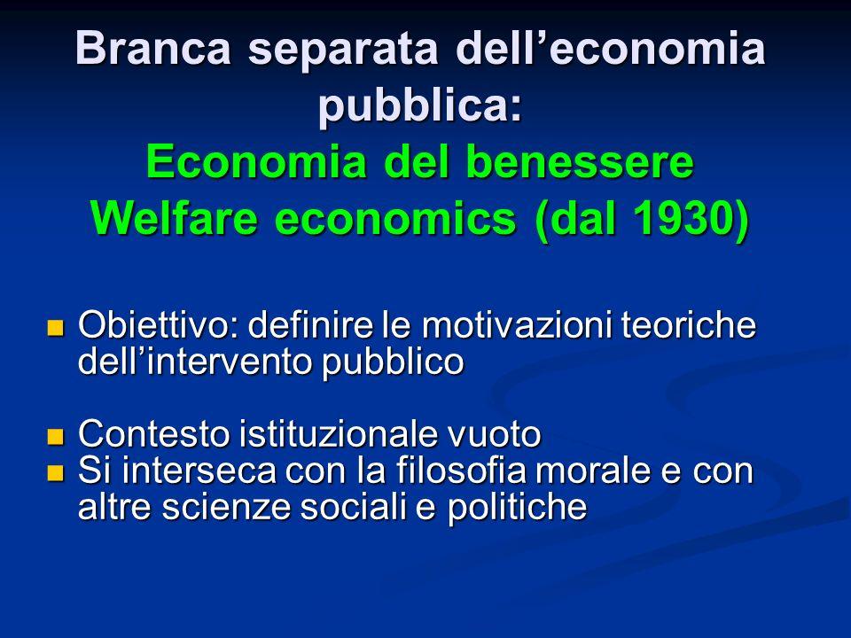 Branca separata delleconomia pubblica: Economia del benessere Welfare economics (dal 1930) Obiettivo: definire le motivazioni teoriche dellintervento