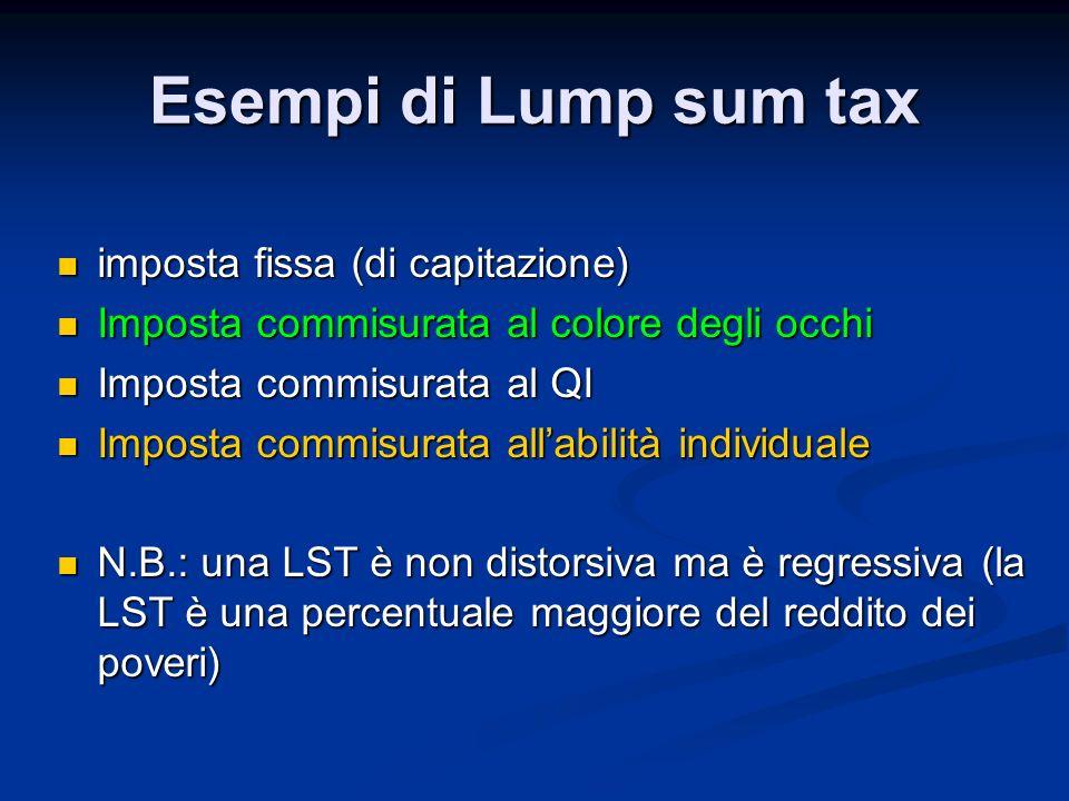 Esempi di Lump sum tax imposta fissa (di capitazione) imposta fissa (di capitazione) Imposta commisurata al colore degli occhi Imposta commisurata al