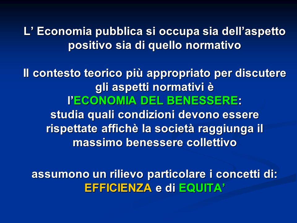 L Economia pubblica si occupa sia dellaspetto positivo sia di quello normativo Il contesto teorico più appropriato per discutere gli aspetti normativi