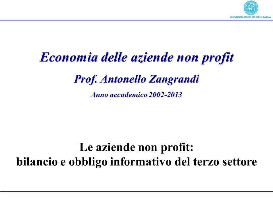 Economia delle aziende non profit Prof. Antonello Zangrandi Anno accademico 2002-2013 Le aziende non profit: bilancio e obbligo informativo del terzo