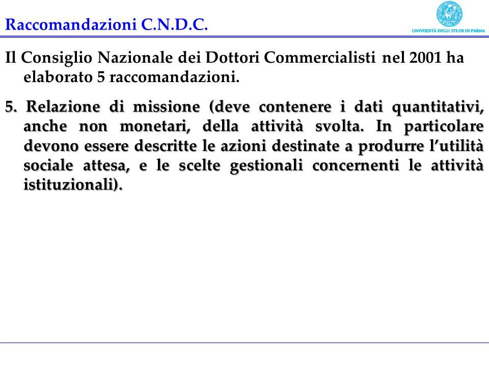Il bilancio desercizio Il Consiglio Nazionale dei Dottori Commercialisti nel 2001 ha elaborato 5 raccomandazioni. 5. Relazione di missione (deve conte