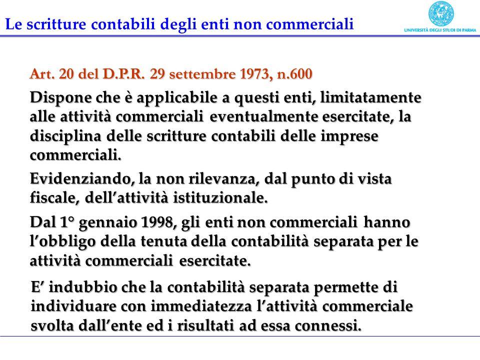 Art. 20 del D.P.R. 29 settembre 1973, n.600 Dispone che è applicabile a questi enti, limitatamente alle attività commerciali eventualmente esercitate,