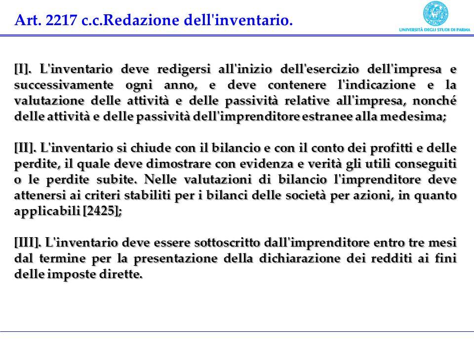 Art. 2217 c.c.Redazione dell'inventario. [I]. L'inventario deve redigersi all'inizio dell'esercizio dell'impresa e successivamente ogni anno, e deve c