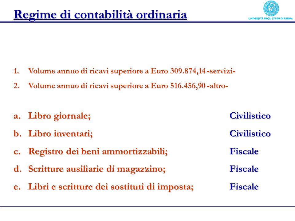 Regime di contabilità ordinaria 1.Volume annuo di ricavi superiore a Euro 309.874,14 -servizi- 2.Volume annuo di ricavi superiore a Euro 516.456,90 -a