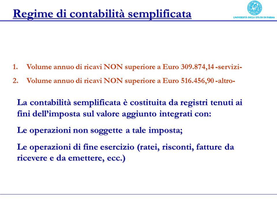 Regime di contabilità semplificata 1.Volume annuo di ricavi NON superiore a Euro 309.874,14 -servizi- 2.Volume annuo di ricavi NON superiore a Euro 51