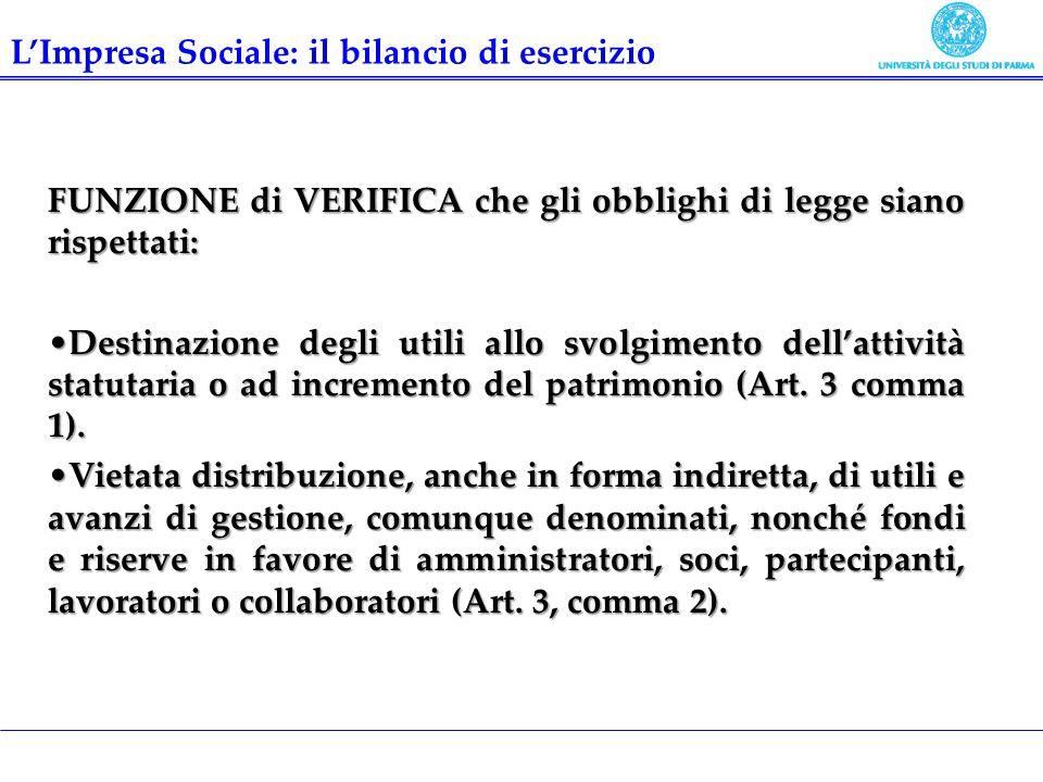 FUNZIONE di VERIFICA che gli obblighi di legge siano rispettati: Destinazione degli utili allo svolgimento dellattività statutaria o ad incremento del