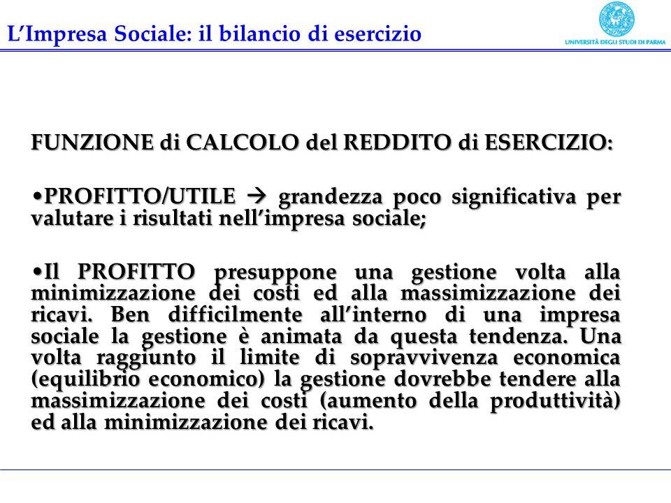 FUNZIONE di CALCOLO del REDDITO di ESERCIZIO: PROFITTO/UTILE grandezza poco significativa per valutare i risultati nellimpresa sociale;PROFITTO/UTILE