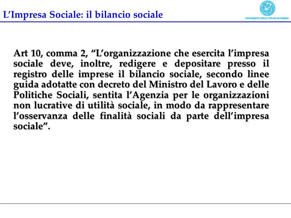 Art 10, comma 2, Lorganizzazione che esercita limpresa sociale deve, inoltre, redigere e depositare presso il registro delle imprese il bilancio socia
