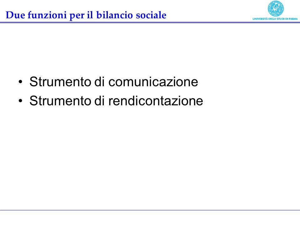 Due funzioni per il bilancio sociale Strumento di comunicazione Strumento di rendicontazione