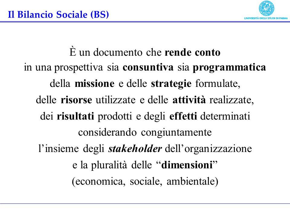 Il Bilancio Sociale (BS) È un documento che rende conto in una prospettiva sia consuntiva sia programmatica della missione e delle strategie formulate