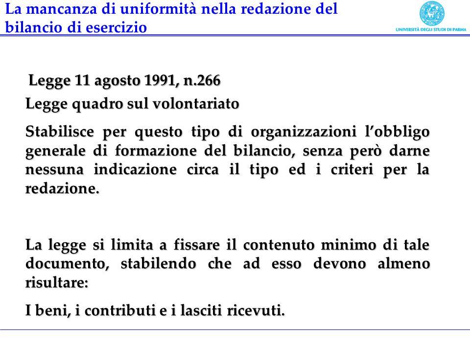 Legge 11 agosto 1991, n.266 Legge quadro sul volontariato Stabilisce per questo tipo di organizzazioni lobbligo generale di formazione del bilancio, s