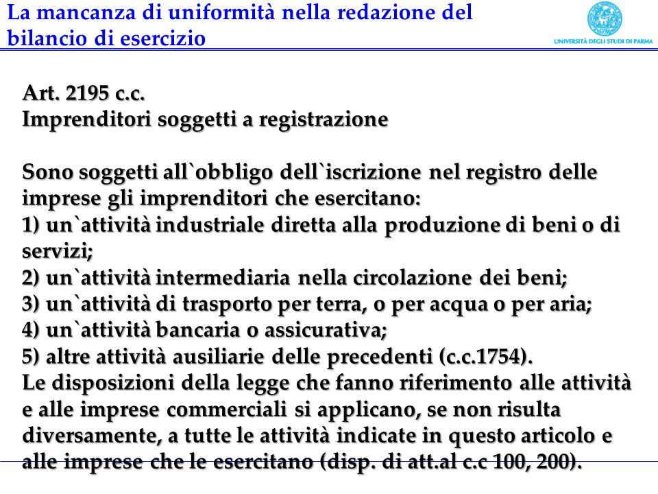 Art. 2195 c.c. Imprenditori soggetti a registrazione Sono soggetti all`obbligo dell`iscrizione nel registro delle imprese gli imprenditori che esercit