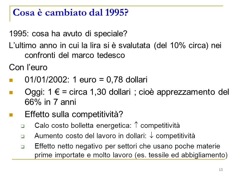 15 Cosa è cambiato dal 1995. 1995: cosa ha avuto di speciale.