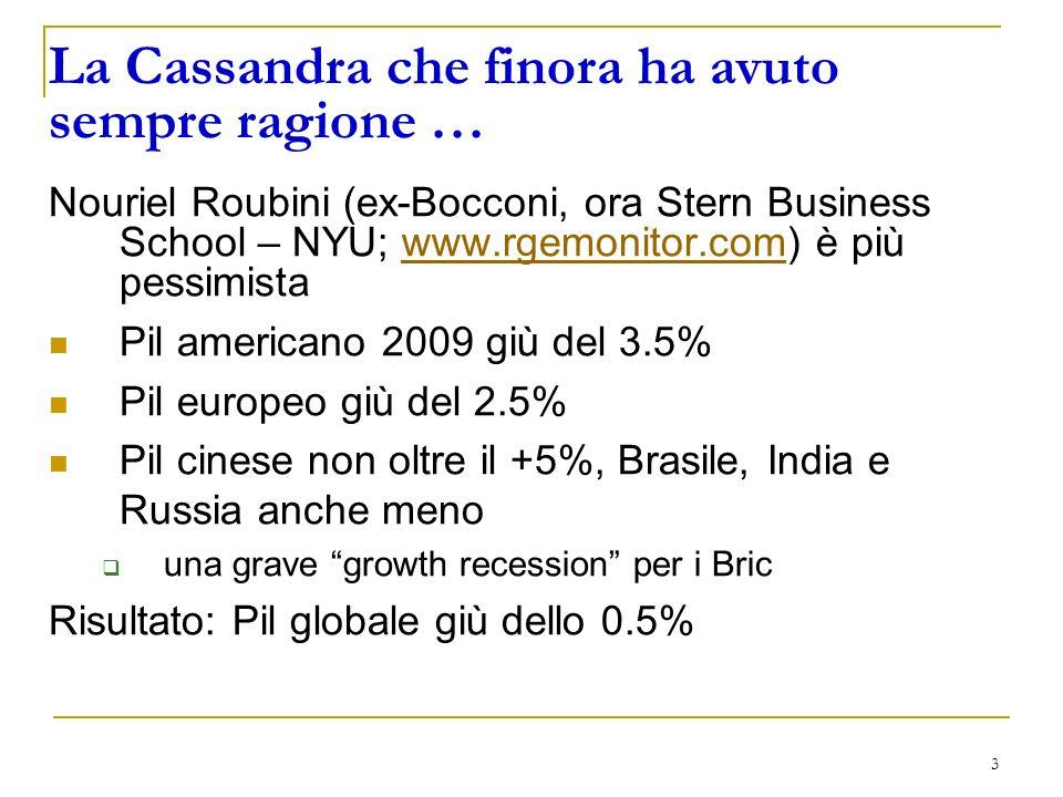 3 La Cassandra che finora ha avuto sempre ragione … Nouriel Roubini (ex-Bocconi, ora Stern Business School – NYU; www.rgemonitor.com) è più pessimistawww.rgemonitor.com Pil americano 2009 giù del 3.5% Pil europeo giù del 2.5% Pil cinese non oltre il +5%, Brasile, India e Russia anche meno una grave growth recession per i Bric Risultato: Pil globale giù dello 0.5%