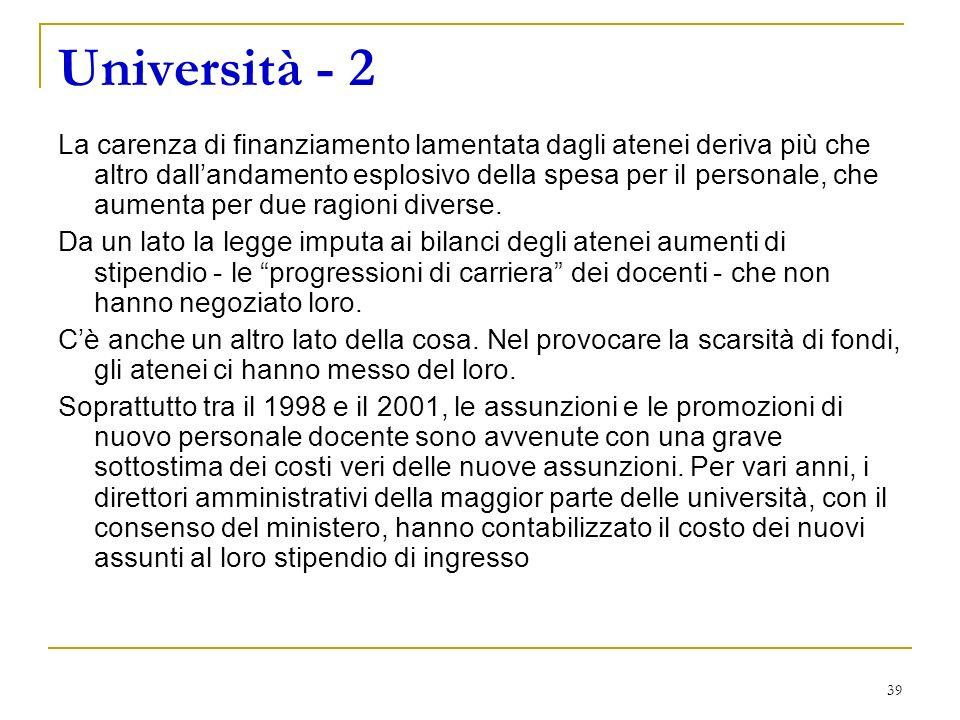 39 Università - 2 La carenza di finanziamento lamentata dagli atenei deriva più che altro dallandamento esplosivo della spesa per il personale, che aumenta per due ragioni diverse.