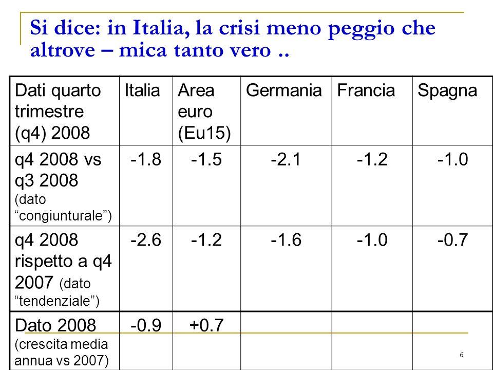 6 Si dice: in Italia, la crisi meno peggio che altrove – mica tanto vero..