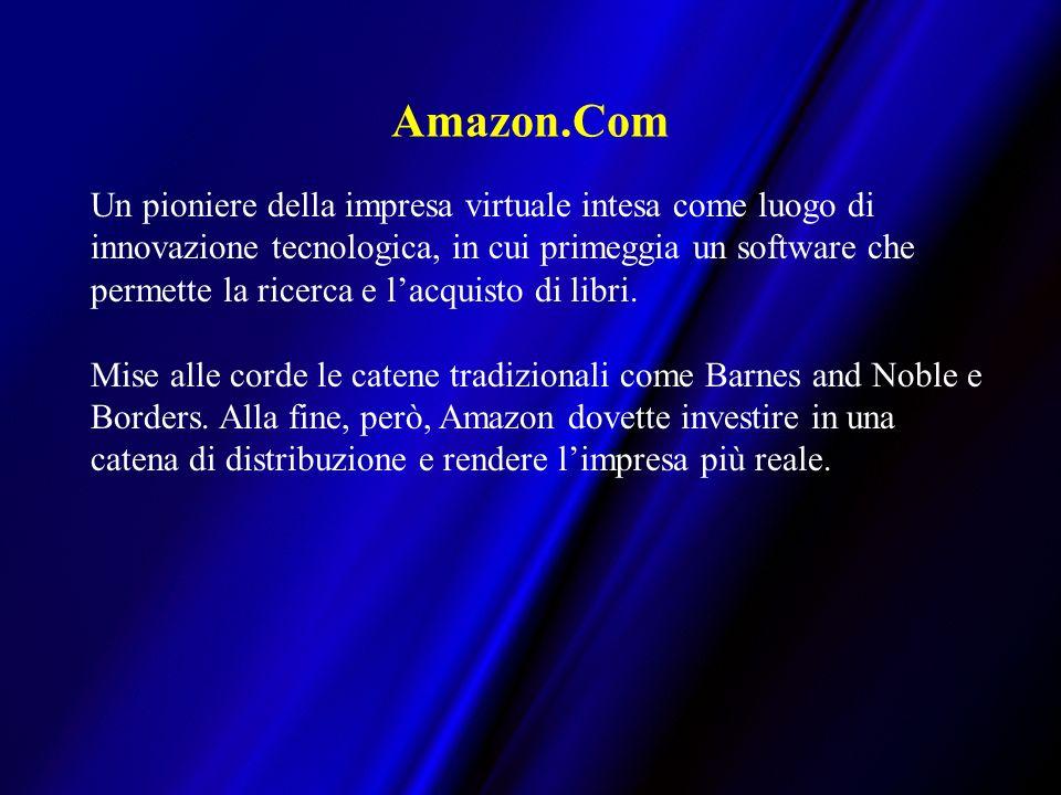 Amazon.Com Un pioniere della impresa virtuale intesa come luogo di innovazione tecnologica, in cui primeggia un software che permette la ricerca e lacquisto di libri.
