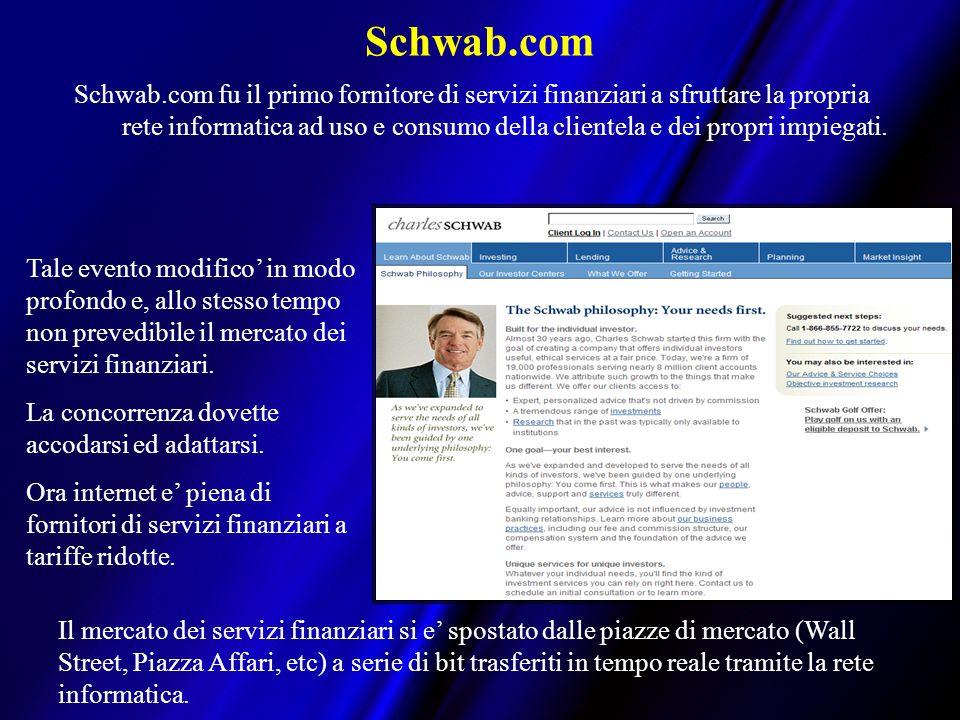 Schwab.com Schwab.com fu il primo fornitore di servizi finanziari a sfruttare la propria rete informatica ad uso e consumo della clientela e dei propri impiegati.