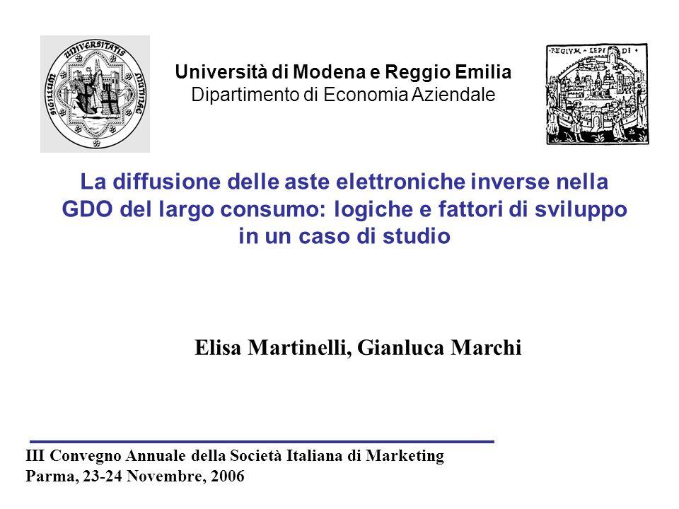 Università di Modena e Reggio Emilia Dipartimento di Economia Aziendale Elisa Martinelli, Gianluca Marchi III Convegno Annuale della Società Italiana
