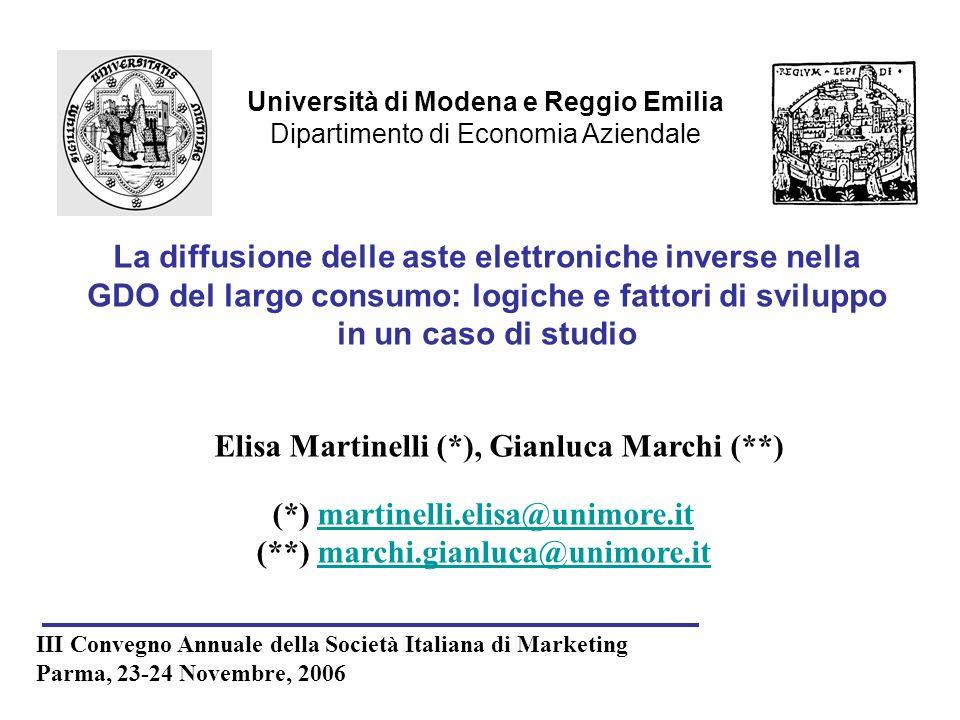 Università di Modena e Reggio Emilia Dipartimento di Economia Aziendale Elisa Martinelli (*), Gianluca Marchi (**) III Convegno Annuale della Società