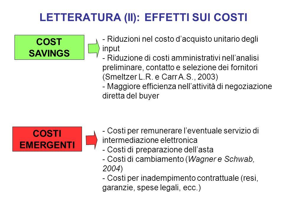 LETTERATURA (II): EFFETTI SUI COSTI - Riduzioni nel costo dacquisto unitario degli input - Riduzione di costi amministrativi nellanalisi preliminare,