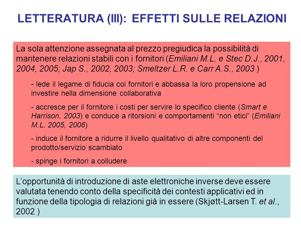 LETTERATURA (IV): VARIABILI CHE INFLUENZANO IL PROCESSO DI DIFFUSIONE - elevato numero di fornitori parimenti qualificati e con capacità produttiva disponibile - ampiezza del lotto acquistato - variabilità prezzi input (Wang e Archer, 2004) FATTORI DI MERCATO - le aste inverse funzionano bene con commodities e beni indiretti (Jap e Mohr, 2002) - non per beni eterogenei e complessi (Smeltzer e Carr, 2003; Carter et al., 2004), causa difficoltà nella preparazione dasta (RFQ) FATTORI DI PRODOTTO - le aste non hanno effetti neutri sullorganizzazione (Smeltzer e Carr, 2003) - elevate barriere organizzative interne (Hartley et al., 2006) resistenze dei buyer FATTORI ORGANIZZA- TIVI .