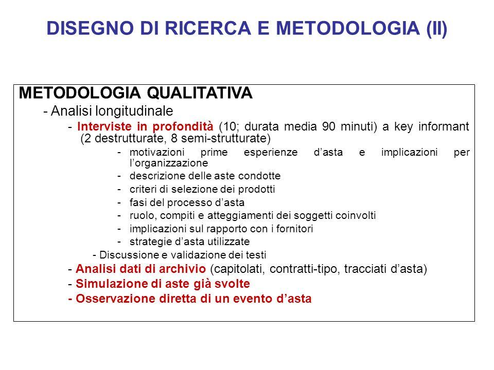 DISEGNO DI RICERCA E METODOLOGIA (II) METODOLOGIA QUALITATIVA - Analisi longitudinale - Interviste in profondità (10; durata media 90 minuti) a key in