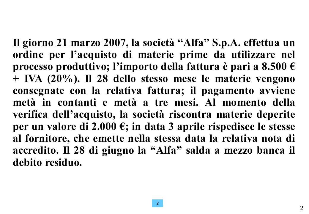 2 2 Il giorno 21 marzo 2007, la società Alfa S.p.A.