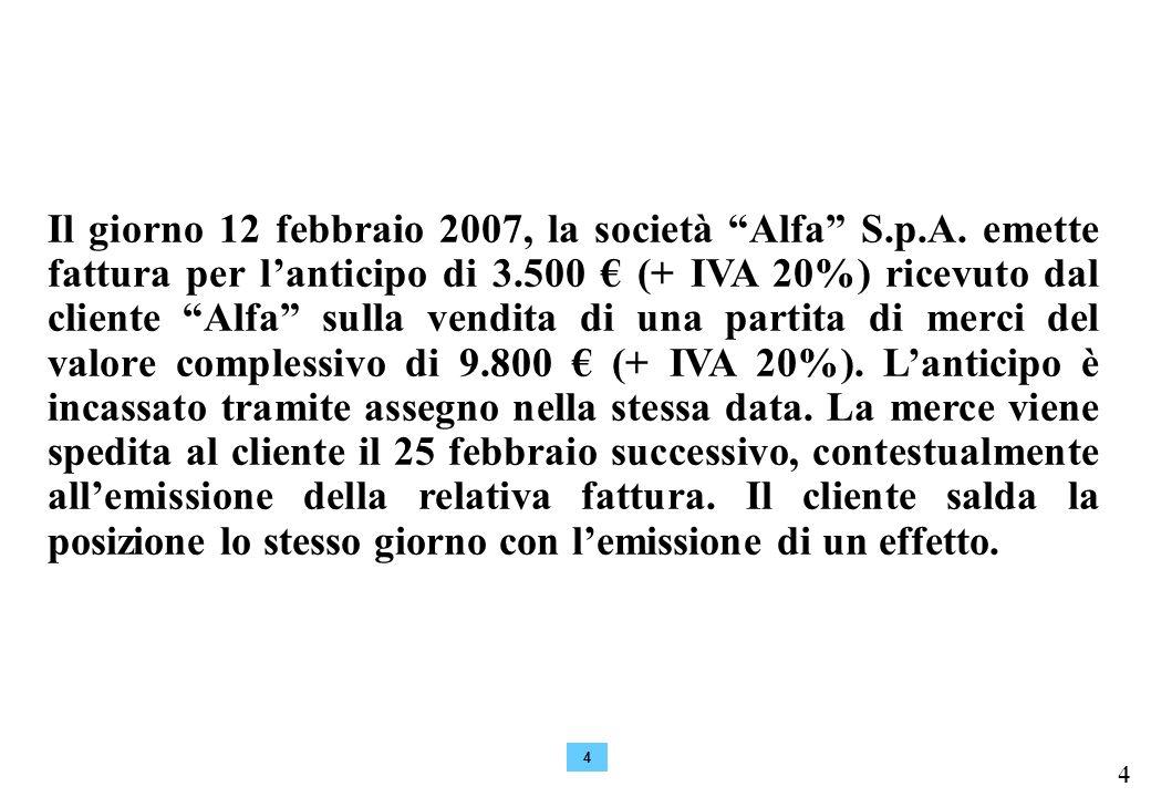 4 4 Il giorno 12 febbraio 2007, la società Alfa S.p.A.