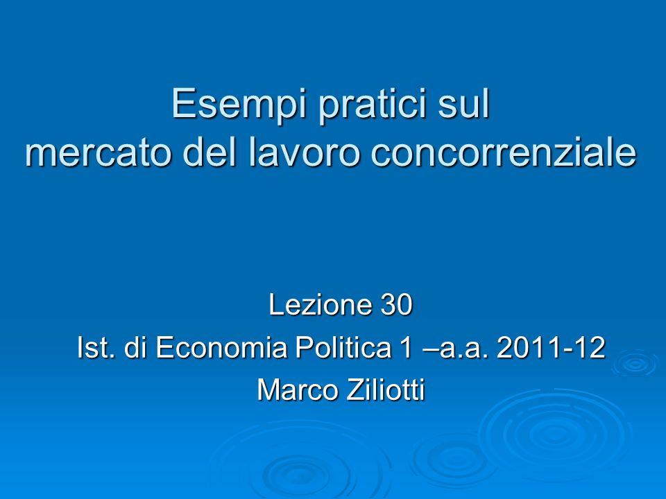 Esempi pratici sul mercato del lavoro concorrenziale Lezione 30 Ist. di Economia Politica 1 –a.a. 2011-12 Marco Ziliotti