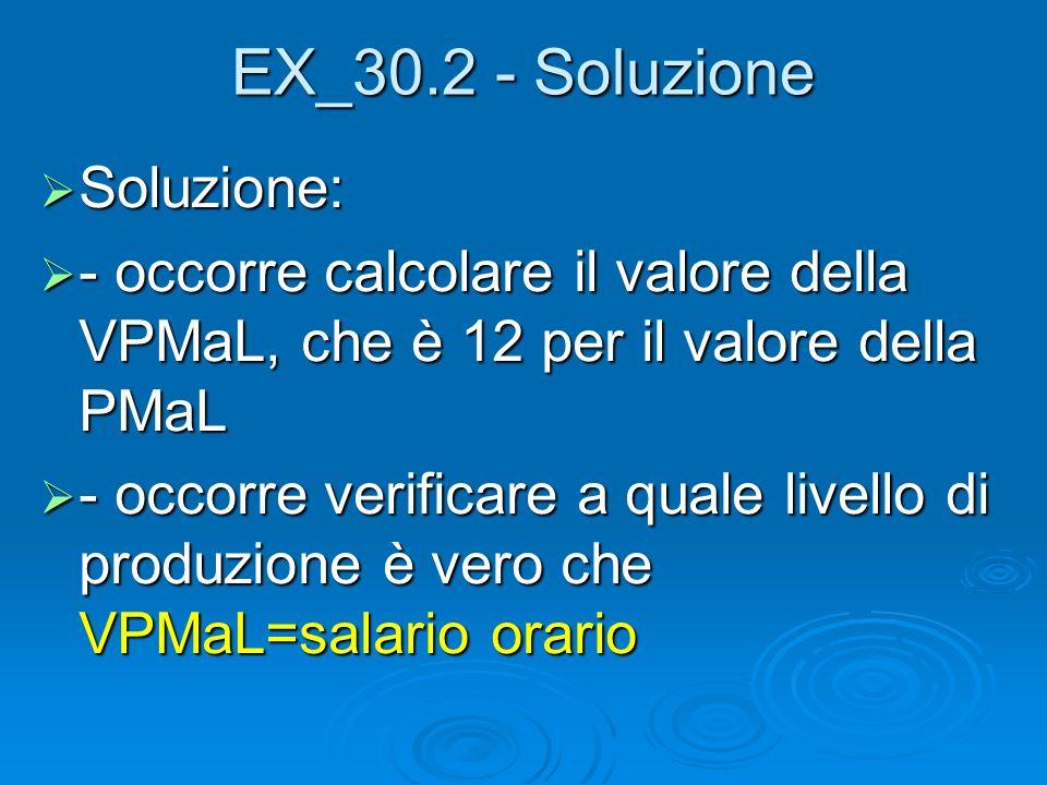 EX_30.2 - Soluzione Soluzione: Soluzione: - occorre calcolare il valore della VPMaL, che è 12 per il valore della PMaL - occorre calcolare il valore d