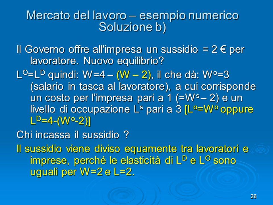 28 Mercato del lavoro – esempio numerico Soluzione b) Il Governo offre all'impresa un sussidio = 2 per lavoratore. Nuovo equilibrio? L O =L D quindi: