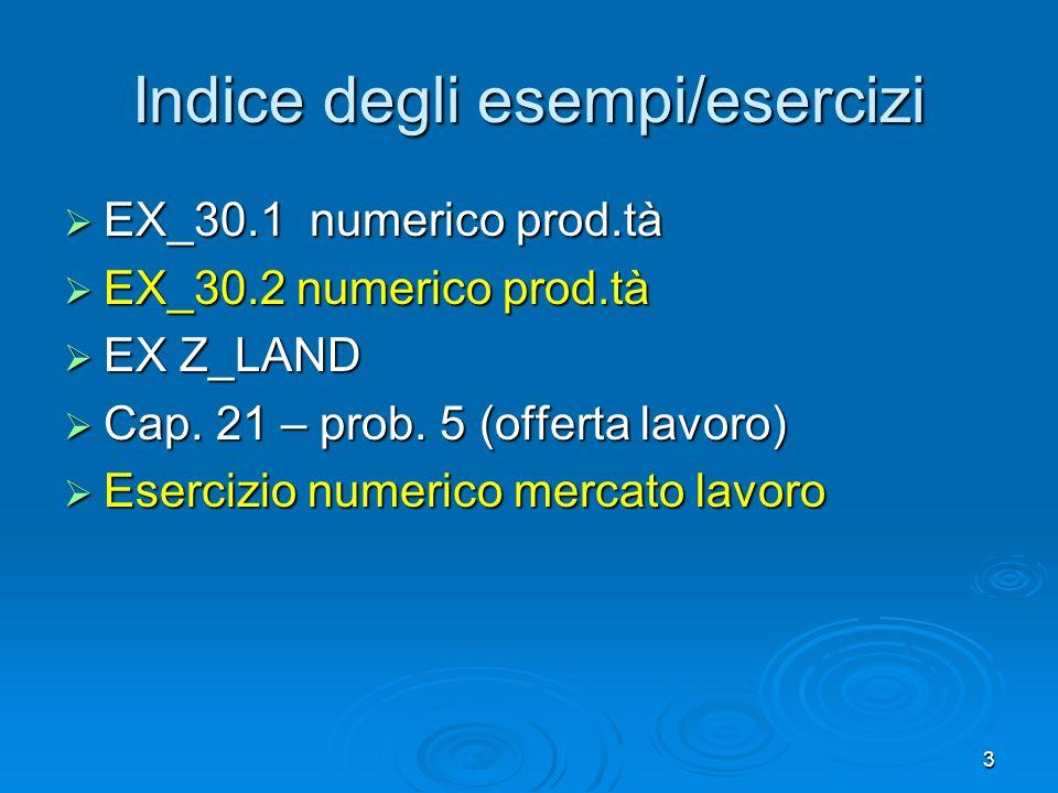 3 Indice degli esempi/esercizi EX_30.1 numerico prod.tà EX_30.1 numerico prod.tà EX_30.2 numerico prod.tà EX_30.2 numerico prod.tà EX Z_LAND EX Z_LAND
