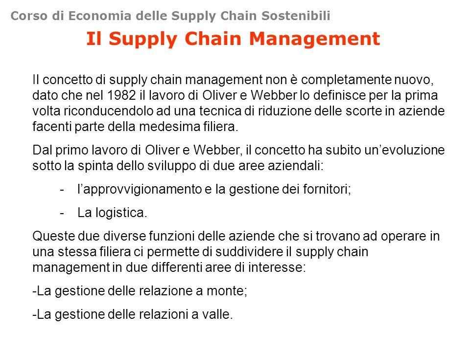 Corso di Economia delle Supply Chain Sostenibili Il Supply Chain Management Il concetto di supply chain management non è completamente nuovo, dato che nel 1982 il lavoro di Oliver e Webber lo definisce per la prima volta riconducendolo ad una tecnica di riduzione delle scorte in aziende facenti parte della medesima filiera.